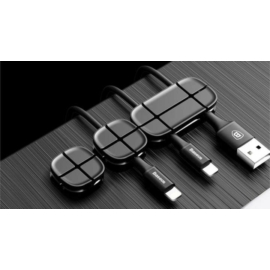 Baseus Cable Clip Cross Peas asztali kábel rögzítő és rendező - fekete