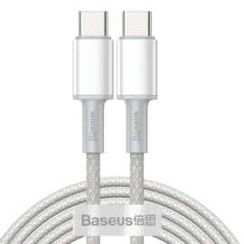 Baseus Type-C - Type-C kábel, sűrű szövésű gyorstöltő és adatkábel 100W (20V/5A) 2m, fehér