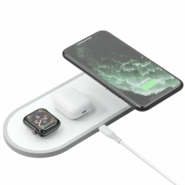 Dudao A11 3 az 1-ben Wireless Charge pad vezeték nélküli töltő Telefon + Airpods + Apple Watch számára - fehér