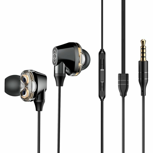 Baseus Encok H10 Dual Moving-coil vezetékes Headset fekete