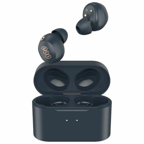 QCY HT01C TWS Bluetooth Earbuds Hybrid ANC vezeték nélküli headset töltőtokkal, aktív zajszűréssel, vezeték nélküli töltéssel - sötétkék