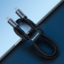 Kép 7/8 - Baseus Type-C Cafule PD3.1, max 60W(20V/3A) flash charge cable 1m, szürke/fekete